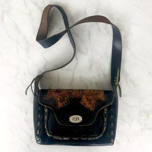 Vintage 70's Tooled Leather Boho  Handbag